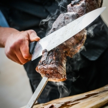 Skewered Picanha - Rump Cap Steaks basted with Coarse Sea Salt only