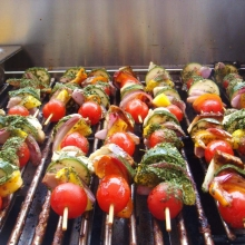 Mixed Veggie Skewers with Halloumi from the BBQ