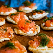 Blini with Smoked Salmon and Mascarpone - Wedding Reception Canape
