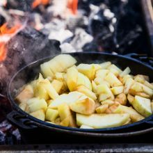 Apple Sauce freshly made in our cast iron pots over flames